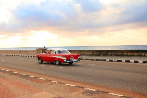 Car on Malecon in Havana Cuba