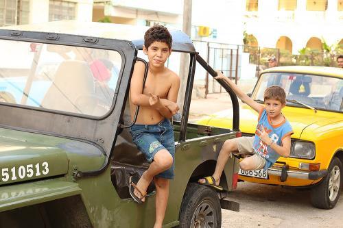 Kids playing in Cuba